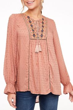 UMGEE Womens Chic Sage Peach Stretch Knit Lace Long Bell Sleeve Top Blouse S M L