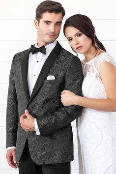 948c4b39f6b Mark of Distinction Granite Paisley Aries Slim Fit Tuxedo
