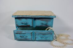 Vintage Distressed light turquoise jewelry box / by NEWaged, $56.00