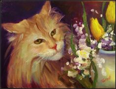 Aragorn , 9x12, oil on board, cats, pretty cats, flowers and cats, tulips, yellow tulips, painting by artist Maryanne Jacobsen