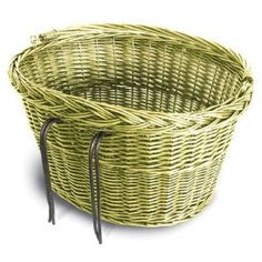 Oval Wicker Bicycle Basket in wash green