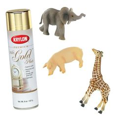 Spray paint animal figurines gold for cute accents and fillers in your pink and gold nursery design :)