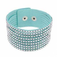 Crystal Rhinestone Wide Leather Bracelet Bangle Women Jewelry at Banggood