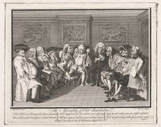 """The Assembly of Old Batchelors"" by Louis-Pierre Boitard (1743) - ""...perhaps the bachelors have had some hand in choosing their circumstances, rather than simply being left on the shelf. And that they're not talking politics at all, but more likely railing against marriage and I or lamenting their lost virility. They have actively eschewed the life of the honest husband for that of the old letch."""