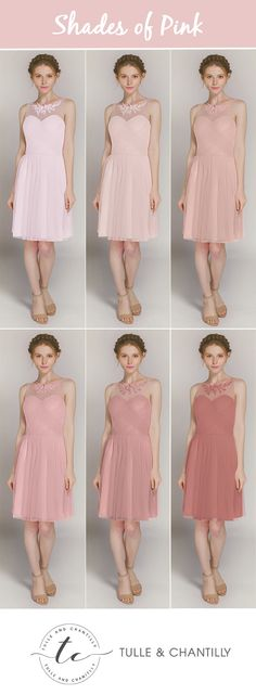 shades of pink tulle short bridesmaid dresses