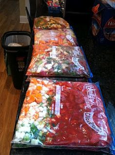 Frozen meals prepped and ready to cook in the crock pot- I'll definitely be trying this out!