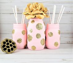 Pink and gold mason jars pink and gold baby shower