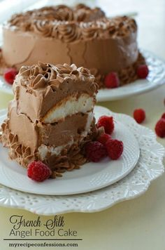 French Silk Angel Food Cake. This is one of the best cakes you will ever make in your kitchen. It tastes like you are eating a light and fluffy chocolate cloud. It is super easy to make too! The other recipes of desserts don't even come close to this one. I always get asked for the recipe.
