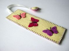 Wool felt bookmark - butterflies: