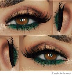 Nude and green eye makeup for brown eyes