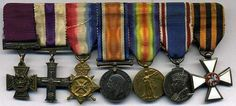 Fredrick Barter VC miniture medals usually worn with evening Mess Dress. Medan, Military Awards, Medal Ribbon, Badges, Soldiers, Ribbons, United Kingdom, Brave, British
