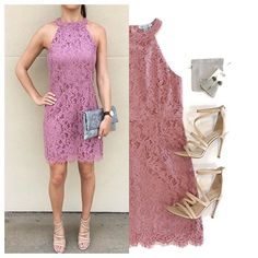 SEE IT ON| It's not about the bunny, it's about the LACE! 🐰 This color is PERFECT! 🙌🏽 'Becca' High Neck Lace Dress, in Chalky Mauve, ONLY $38. Comment for PayPal or text 225.385.6004 to purchase. #dressmingle #easterdress #lacedress #lotd #wiw