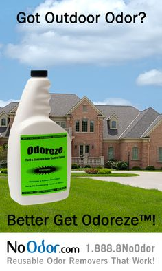 Odoreze™ Natural Yard & Concrete Odor Eliminator gets smell out without chemicals. This safe concentrated deodorizer makes 125 gallons & works!