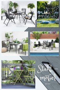Gartenmöbel aus Stahl und Eisen haben eine elegante Ausstrahlung und werden sofort zum Hingucker in Ihrem Garten. Ob Schnörkel oder ein Design mit schlichten, geraden Linien, die filigranen Formen verleihen den Gartenmöbeln eine leichte und luftige Ausstrahlung und werfen zauberhafte Schatten auf den Boden. Draußen im Freien den Sommer genießen macht noch mehr Spaß, wenn Sie sich an wunderschönen, praktischen und komfortablen Gartenmöbeln erfreuen können! Outdoor Furniture Sets, Outdoor Decor, Rest, Design, Home Decor, Be Creative, Modern Outdoor Furniture, Outdoor, Shadows