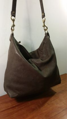 Rustic Soft Brown Italian Leather Zip-Top Crossbody Bag Shoulder Messenger Goat Skin Handmade in USA by jewelrypieces on Etsy