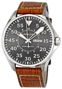 Hamilton Men's H64715885 Khaki Pilot Automatic Stainless Steel Watch with Brown Croco-Embossed Watch >>> You can find out more details at the link of the image.