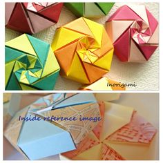 Set of 12 Octagonal Boxes  HQ Tant Paper  / 4 color by Inorigami