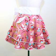Double PERFECT CIRCLE Hostess Apron in Pink Peace and Owls Print