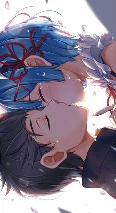 Natsuki Subaru & Rem (Re: Zero - Starting Life In Another World) Anime Love Couple, Cute Anime Couples, I Love Anime, Re Zero Wallpaper, Animé Fan Art, Tamako Love Story, Anime Kiss, Chica Anime Manga, Anime Artwork