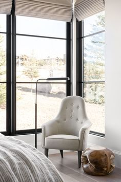 Mountainside Retreat: The Upstairs Guest Bed + Bath Girls Bedroom, Master Bedroom, Bedroom Ideas, Bedrooms, Funky Chairs, Favorite Paint Colors, White Duvet, Studio Mcgee, Guest Bed