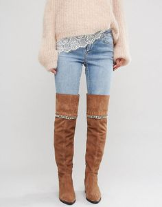 """KEETA Suede Chain Over The Knee Boots by Asos. """"""""Boots by ASOS Collection, Suede upper, Side zip opening, Over-the-knee design, Chain detail, Mid heel, Protect with a suede cleaner, 100% Real Leather Upper, Heel height: 5cm/2"""". Score a wardrobe win no matter the dress code with our A... #asos #nudeshoes"""