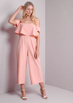 Bardot Off The shoulder Layered Culotte Jumpsuit Nude Pink