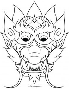 Printable chinese dragon mask coloring pages cut out for kids.Free online print…