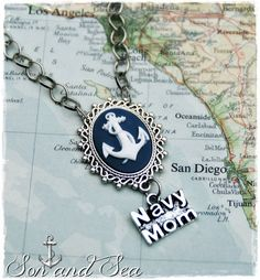 US Navy Mom anchor cameo necklace by Son and Sea free shipping by sonandsea, $24.00