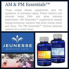 Jeunesse products.... AM Essentials™ provides lasting daytime energy and increases concentration, while PM Essentials™ helps prepare you for a restful night's sleep so your body can focus on cell maintenance and renewal. This balanced approach towards healthy aging gives you the tools you need to improve your quality of life from the inside out. Http://turnbaktime.jeunesseglobal.com/