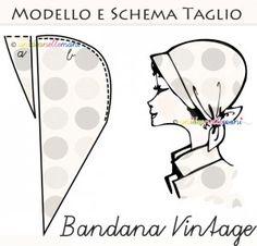 modello e schema taglio per cucire bandana cappellino vintage