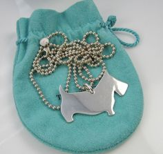 19121fbff Tiffany & Co Rare Large Sterling Silver SCOTTY DOG 34 Inch Beaded Chain  Necklace   eBay