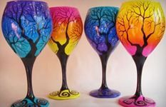 These would be FANTASTIC faerie/elven wedding party gifts!! ^_^  Don't you think??  Wine Me? Hand Painted Wine Glasses | Wine Art | Rebecca Suriano | Top Shelf Specialties