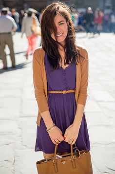 Sarah Vickers of Classy Girls Wear Pearls wears a MODCLOTH dress and cardigan, J.CREW belt, and TORY BURCH bag.