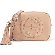 Gucci Soho Disco textured-leather shoulder bag ($980) ❤ liked on Polyvore featuring bags, handbags, shoulder bags, beige, tassel purse, zipper purse, gucci handbags, cell phone shoulder bag and red handbags