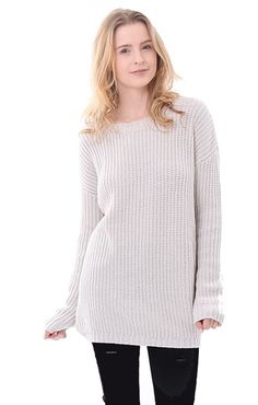 Central Park West Sweaters Beige Long Sleeve Hamptons Pullover in Stone  Fall 2016 Clothing trends Central abe566121