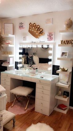 Impressions Vanity Co Hollywood Vanity Mirrors SLAYssentials Room, Room Ideas Bedroom, Home Decor, Room Inspiration, Stylish Bedroom, Makeup Room Decor, Room Decor Bedroom, Classy Rooms, Pinterest Room Decor