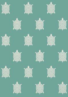 """""""Biscayn"""" Papier Peint Turtle Wallpaper by Thibaut"""