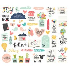 Add sweet designs and inspiring phrases to mission trip memories with Simple Stories faith die-cut pieces. The sticker sheet has 44 pieces that express devotion, grace, and love.