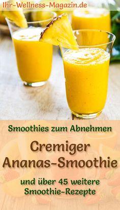 Ananas-Smoothie – gesundes Rezept zum Abnehmen Make a pineapple smoothie yourself – a healthy, easy-to-use smoothie recipe with plenty of fruit for low-calorie breakfast smoothies or filling diet meals … Low Calorie Breakfast, Detox Breakfast, Breakfast Smoothies, Easy Smoothie Recipes, Easy Smoothies, Detox Recipes, Snacks Sains, Slimming Recipes, Exotic Food