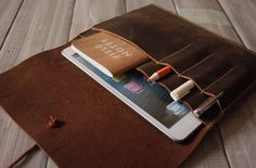 Distressed Leather iPad Mini Case Sleeve / Passport sleeve case / Notebooks covers / Leather Pen Sleeve - All in One LD01