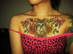 Thoughtful Tattoo on the Chest - Pretty Girly Tattoos