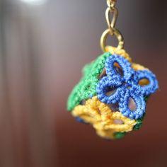 Куб національного прапора сережки # 3 Бразилія   сережки (гачок-ланцюга)   ручної поштовий замовлення і продаж Creema