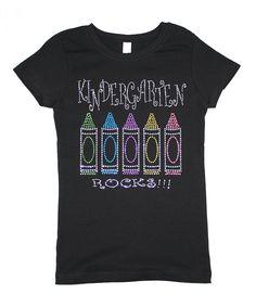 Children's Park Avenue Black 'Kindergarten Rocks' Bling Tee - Toddler & Girls by Children's Park Avenue #zulily #zulilyfinds