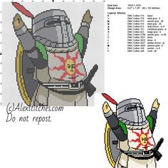 Knight Solaire Dark Souls free videogames cross stitch pattern 100x102 14 colors