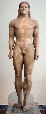 *GREECE ~ Cave to Canvas, Kroisos Kouros - Ancient Greek sculpture, c. Kouros Ancient Greek Sculpture, c. Ancient Greek Sculpture, Ancient Greek Art, Greek Statues, Ancient Greece, Greek History, Ancient History, Art History, Roman Sculpture, Sculpture Art