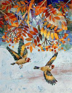 Мозаичное панно Щеглы 1