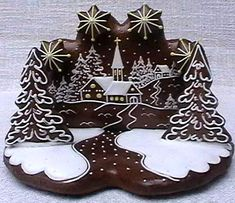landscape art decorated christmas cookie