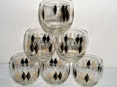 vintage glasses set of 6 glasses 1970s glasses by DivaDecades