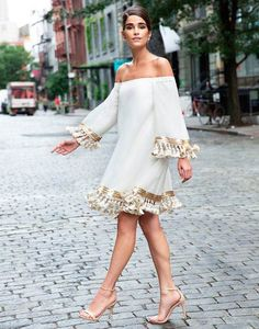This Mestiza white cocktail dress is crafted in silk cocoon, a fabrication unique to the Philippines with its exaggerated bell-sleeves and tassels hanging from the hem and sleeves. Look Fashion, Womens Fashion, Fashion Trends, Fashion Tv, Bohemian Fashion, Latest Fashion, Winter Fashion, Vintage Fashion, Elegant Dresses