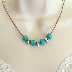 Turquoise Spike Necklace, Minimalist necklace, Spike Necklace, Women's Necklace, Gift for her, Boho necklace